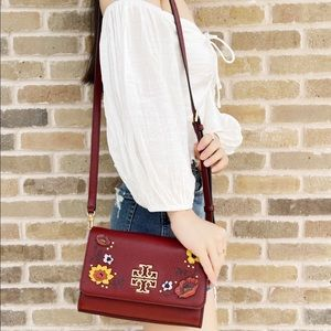 Tory Burch Large crossbody red floral